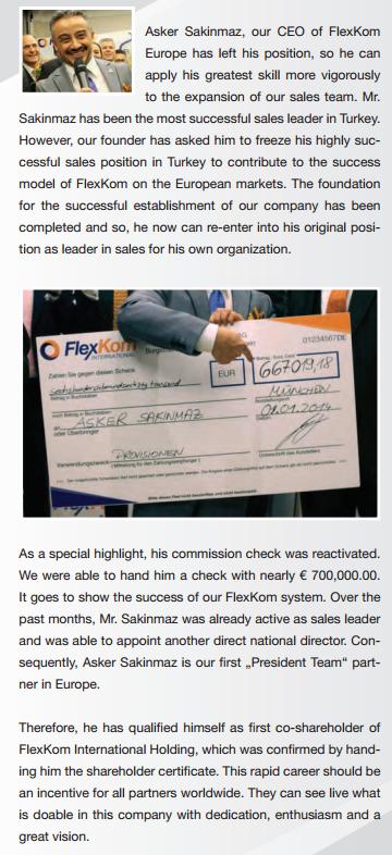 Asker Sakinmaz laat trots zijn cheque zien. Uit de Flexkom nieuwsbrief van januari.